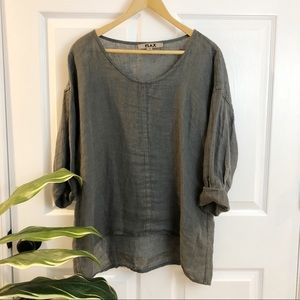 FLAX | Natural Grey 100% Linen Lagen Look Blouse